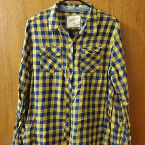 Plaid blue and yellow button down top